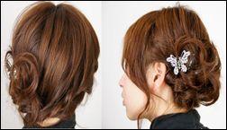 編み込みショートヘア
