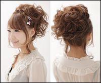 セミロングの髪型アップスタイル