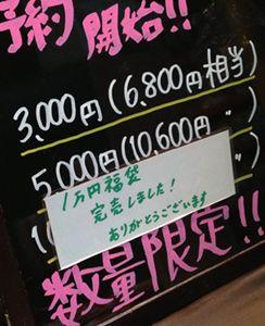 1万円の福袋が完売