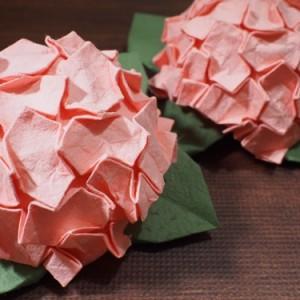 大きいサイズで折った難しいあじさいの折り紙