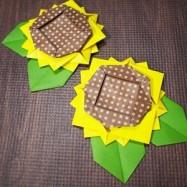 おりがみ【ボリュームのある平面型】ひまわり(向日葵)と簡単な葉っぱの折り方