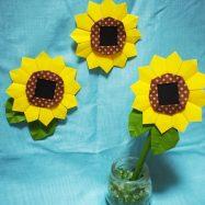 おりがみ【平面&立体】ミニひまわり(花びら12枚タイプ)の作り方